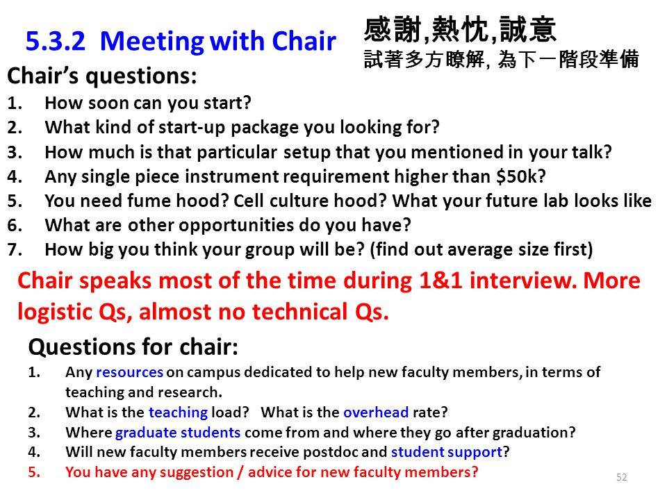 5.3.2 Meeting with Chair Chairs questions: 1.How soon can you start? 2.What kind of start-up package you looking for? 3.How much is that particular se