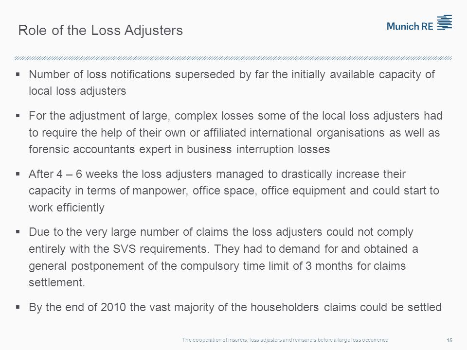 Role of the Loss Adjusters Number of loss notifications superseded by far the initially available capacity of local loss adjusters For the adjustment of large, complex losses some of the local loss adjusters had to require the help of their own or affiliated international organisations as well as forensic accountants expert in business interruption losses After 4 – 6 weeks the loss adjusters managed to drastically increase their capacity in terms of manpower, office space, office equipment and could start to work efficiently Due to the very large number of claims the loss adjusters could not comply entirely with the SVS requirements.