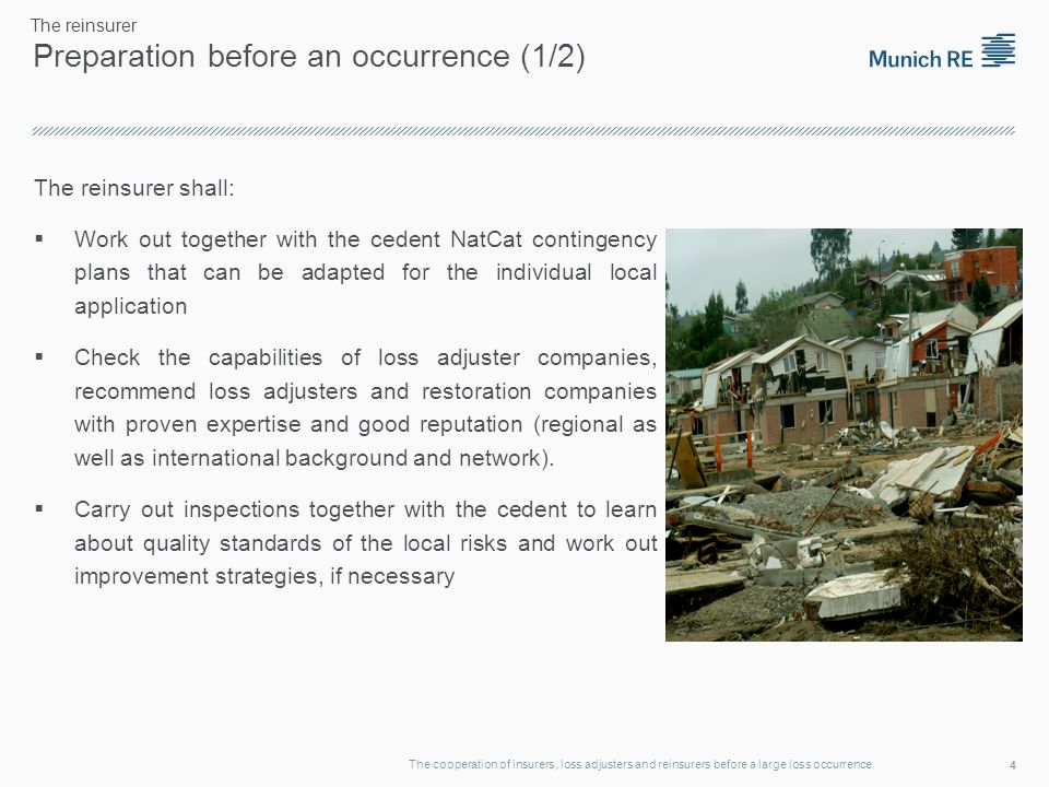 Preparation before an occurrence (2/2) Cooperation with the loss adjuster and the insurer to optimize the reporting.