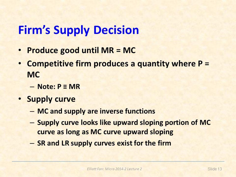 Elliott Fan: Micro 2014-2 Lecture 2 Firms Supply Decision Produce good until MR = MC Competitive firm produces a quantity where P = MC – Note: P MR Su