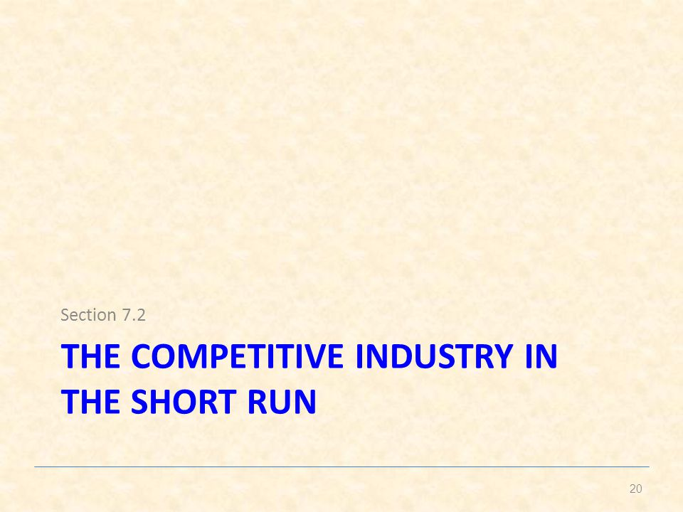 THE COMPETITIVE INDUSTRY IN THE SHORT RUN Section 7.2 20