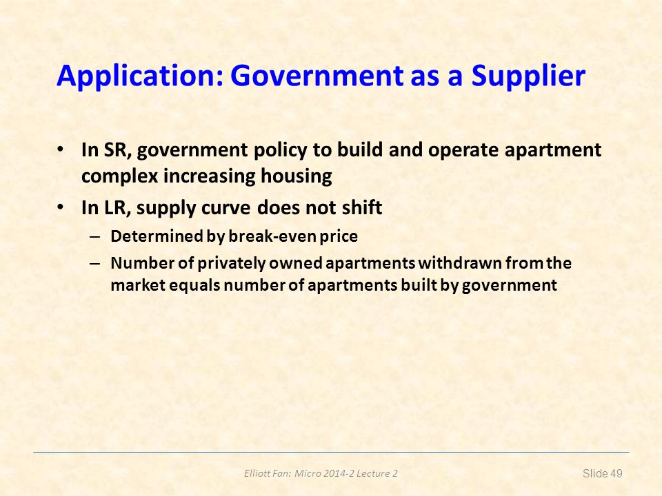 Elliott Fan: Micro 2014-2 Lecture 2 Application: Government as a Supplier In SR, government policy to build and operate apartment complex increasing h