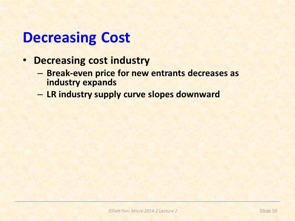Elliott Fan: Micro 2014-2 Lecture 2 Decreasing Cost Decreasing cost industry – Break-even price for new entrants decreases as industry expands – LR in