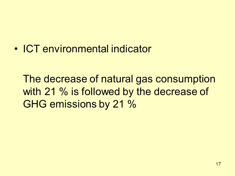 ICT environmental indicator The decrease of natural gas consumption with 21 % is followed by the decrease of GHG emissions by 21 % 17