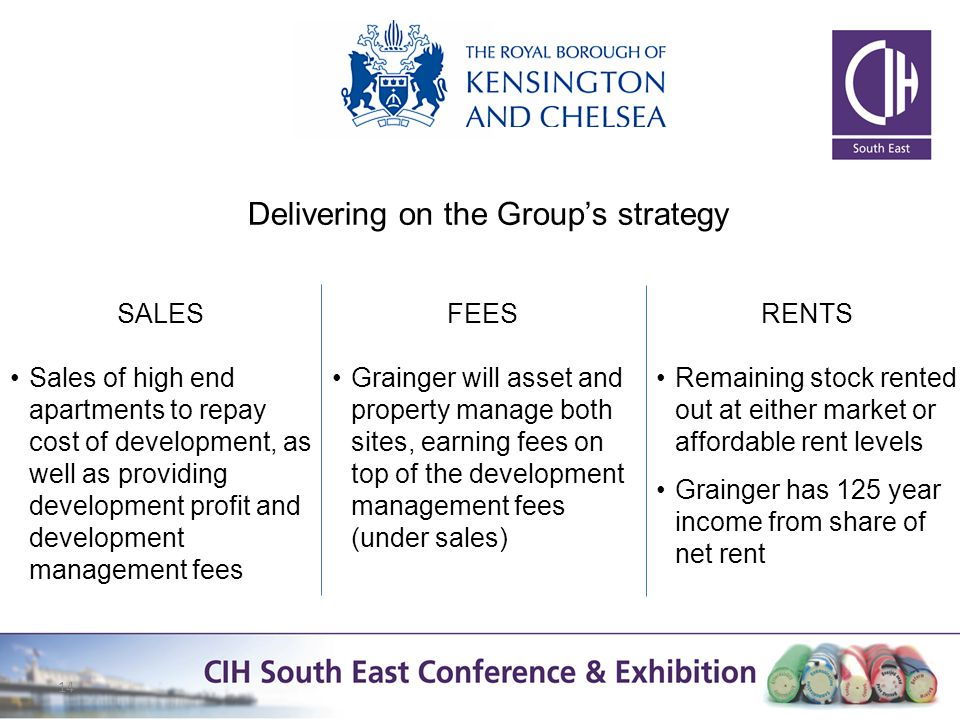 14 Delivering on the Groups strategy SALES Sales of high end apartments to repay cost of development, as well as providing development profit and development management fees RENTS Remaining stock rented out at either market or affordable rent levels Grainger has 125 year income from share of net rent FEES Grainger will asset and property manage both sites, earning fees on top of the development management fees (under sales)