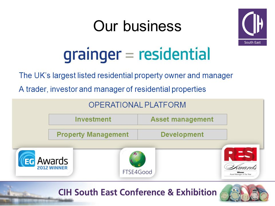 Our business The UKs largest listed residential property owner and manager A trader, investor and manager of residential properties 2 OPERATIONAL PLATFORM InvestmentAsset management Property ManagementDevelopment