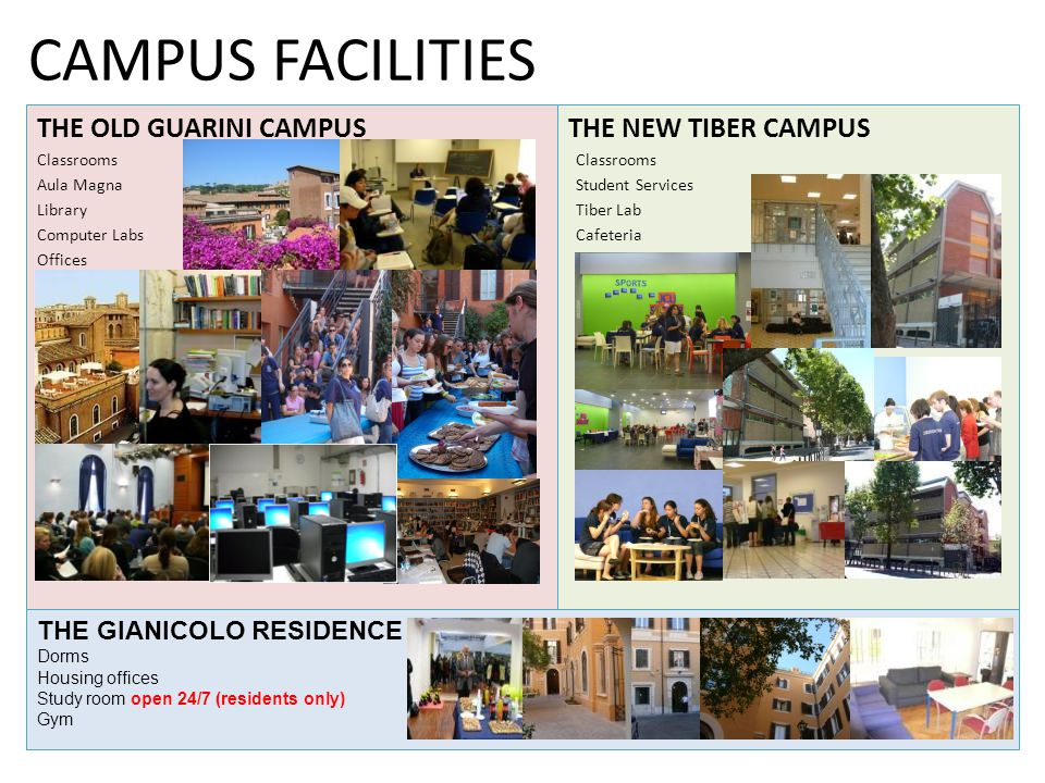 CAMPUS FACILITIES THE NEW TIBER CAMPUS Classrooms Student Services Tiber Lab Cafeteria THE OLD GUARINI CAMPUS Classrooms Aula Magna Library Computer Labs Offices THE GIANICOLO RESIDENCE Dorms Housing offices Study room open 24/7 (residents only) Gym