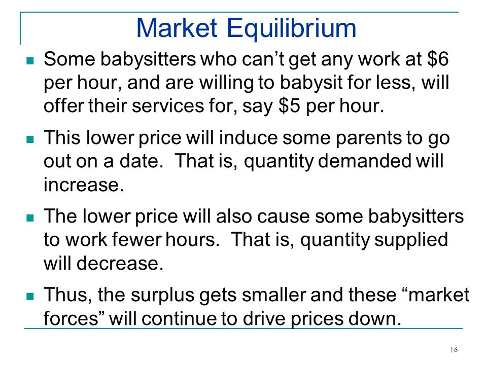 Market Equilibrium Some babysitters who cant get any work at $6 per hour, and are willing to babysit for less, will offer their services for, say $5 per hour.