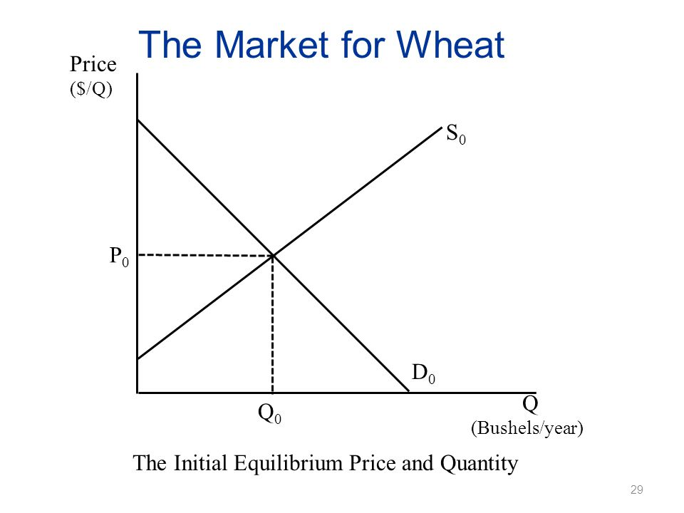 The Market for Wheat Price ($/Q) The Initial Equilibrium Price and Quantity Q (Bushels/year) P0P0 Q0Q0 D0D0 S0S0 29
