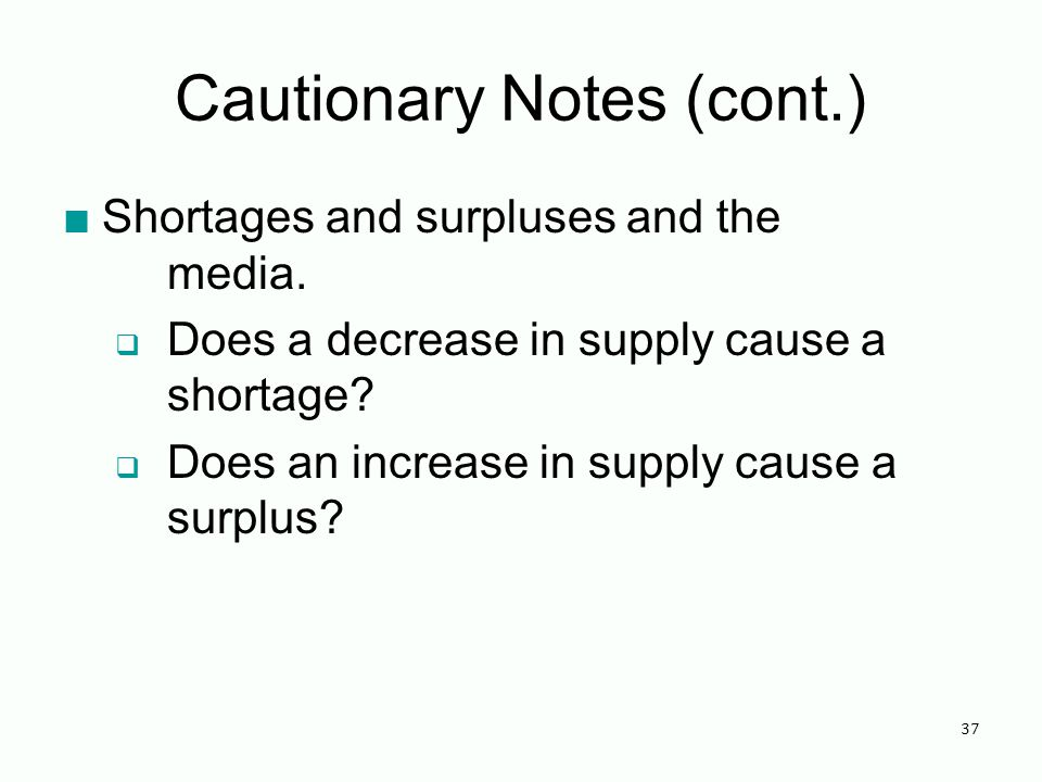 Cautionary Notes (cont.) Shortages and surpluses and the media.