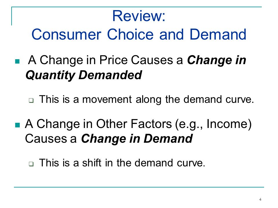 A Change in Price Causes a Change in Quantity Demanded This is a movement along the demand curve.