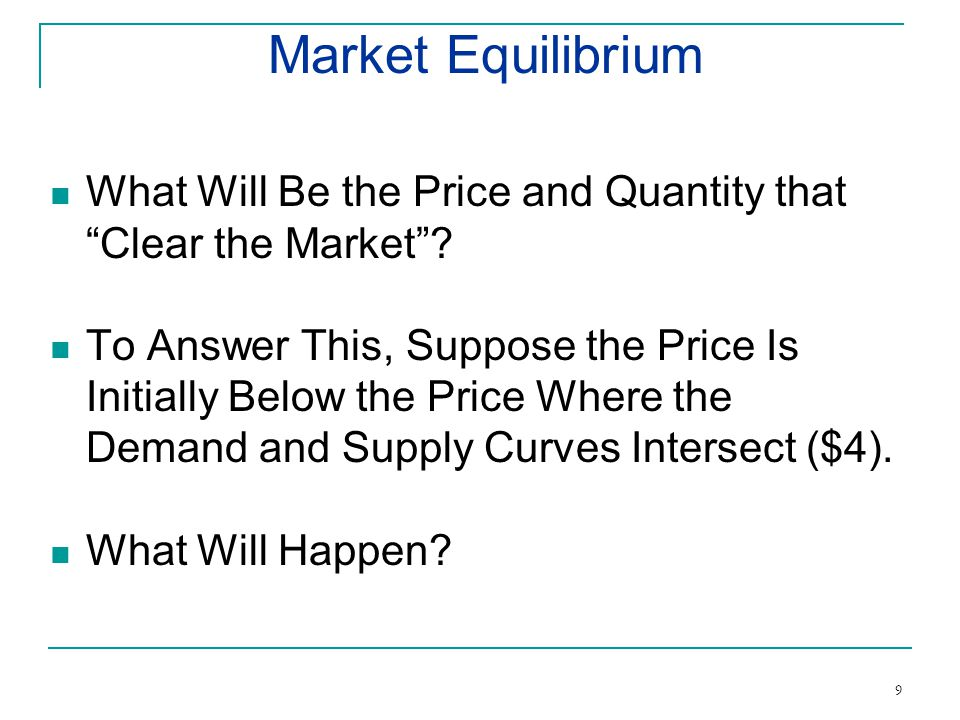 Market Equilibrium What Will Be the Price and Quantity that Clear the Market.