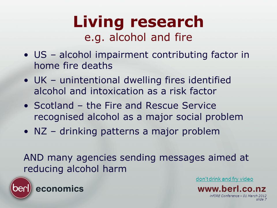 inFIRE Conference – 01 March 2012 slide 18 To establish costs of fires e.g.