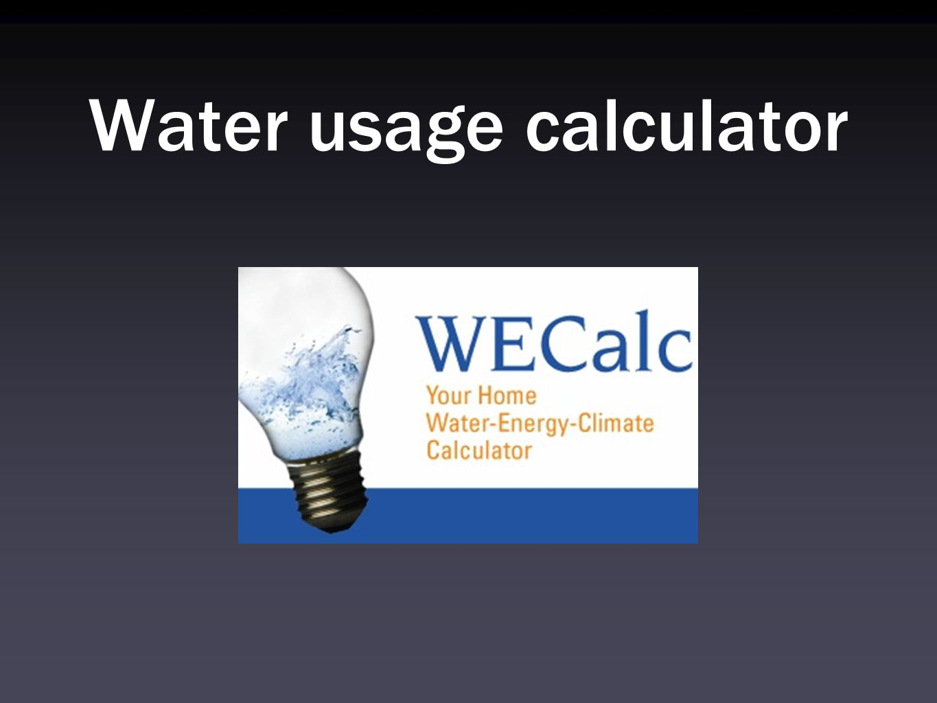 Water usage calculator