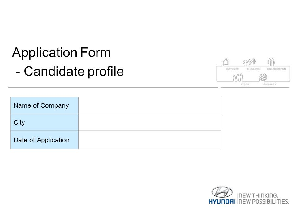 Application Form - Candidate profile Name of Company City Date of Application