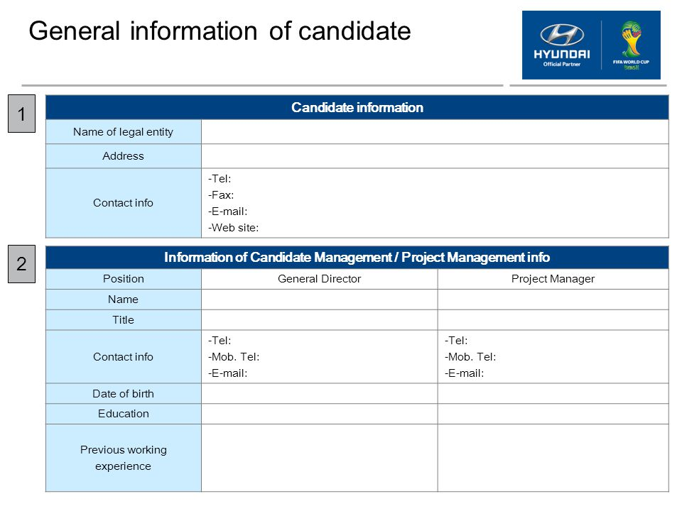 General information of candidate Candidate information Name of legal entity Address Contact info -Tel: -Fax: -E-mail: -Web site: Information of Candid