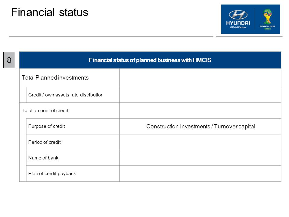 Financial status Financial status of planned business with HMCIS Total Planned investments Credit / own assets rate distribution Total amount of credi
