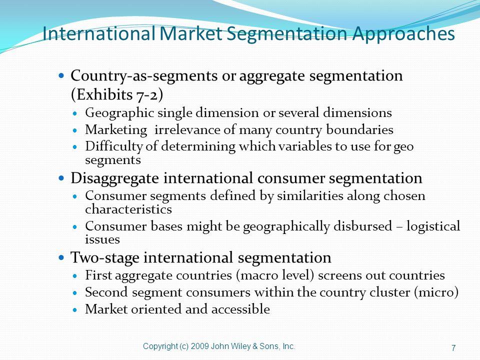 International Market Segmentation Approaches Country-as-segments or aggregate segmentation (Exhibits 7-2) Geographic single dimension or several dimen