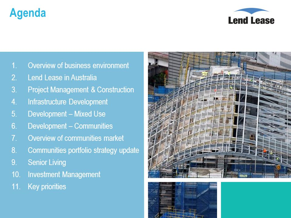 Agenda 1.Overview of business environment 2.Lend Lease in Australia 3.Project Management & Construction 4.Infrastructure Development 5.Development – Mixed Use 6.Development – Communities 7.Overview of communities market 8.Communities portfolio strategy update 9.Senior Living 10.Investment Management 11.Key priorities