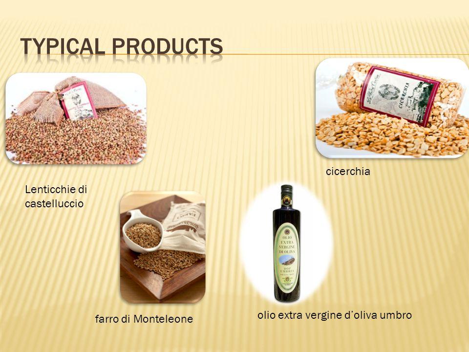 olio extra vergine doliva umbro Lenticchie di castelluccio cicerchia farro di Monteleone
