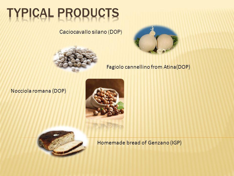 Caciocavallo silano (DOP) Fagiolo cannellino from Atina(DOP) Nocciola romana (DOP) Homemade bread of Genzano (IGP)