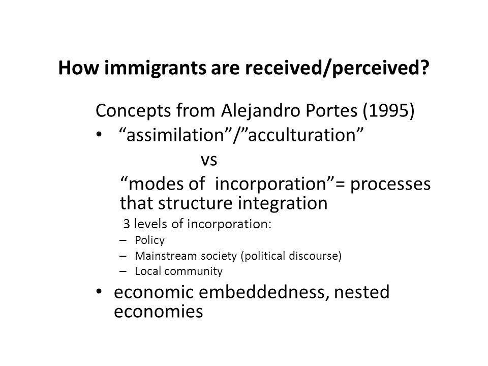How immigrants are received/perceived? Concepts from Alejandro Portes (1995) assimilation/acculturation vs modes of incorporation= processes that stru