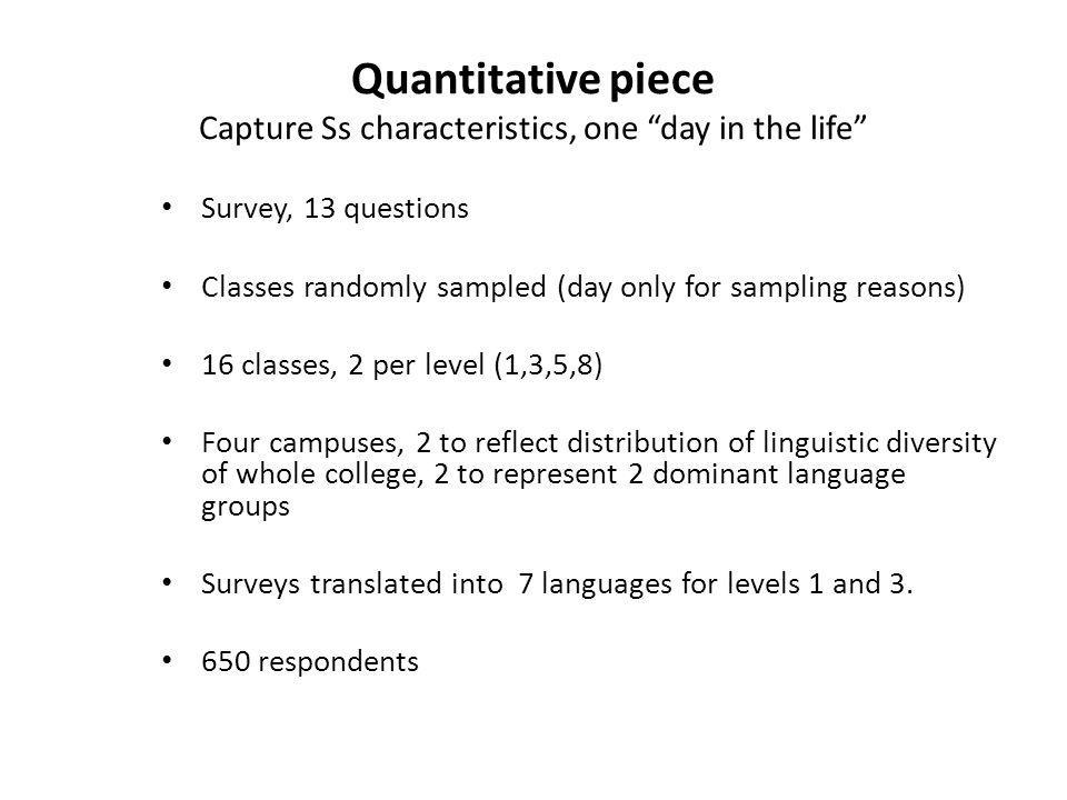 Quantitative piece Capture Ss characteristics, one day in the life Survey, 13 questions Classes randomly sampled (day only for sampling reasons) 16 classes, 2 per level (1,3,5,8) Four campuses, 2 to reflect distribution of linguistic diversity of whole college, 2 to represent 2 dominant language groups Surveys translated into 7 languages for levels 1 and 3.