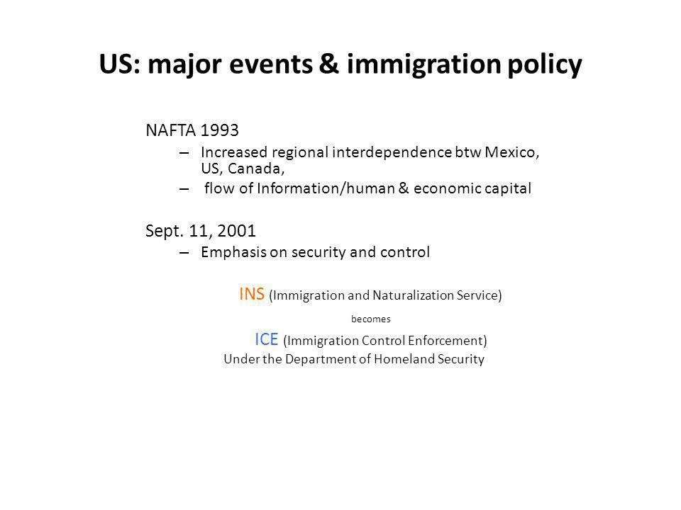 US: major events & immigration policy NAFTA 1993 – Increased regional interdependence btw Mexico, US, Canada, – flow of Information/human & economic c