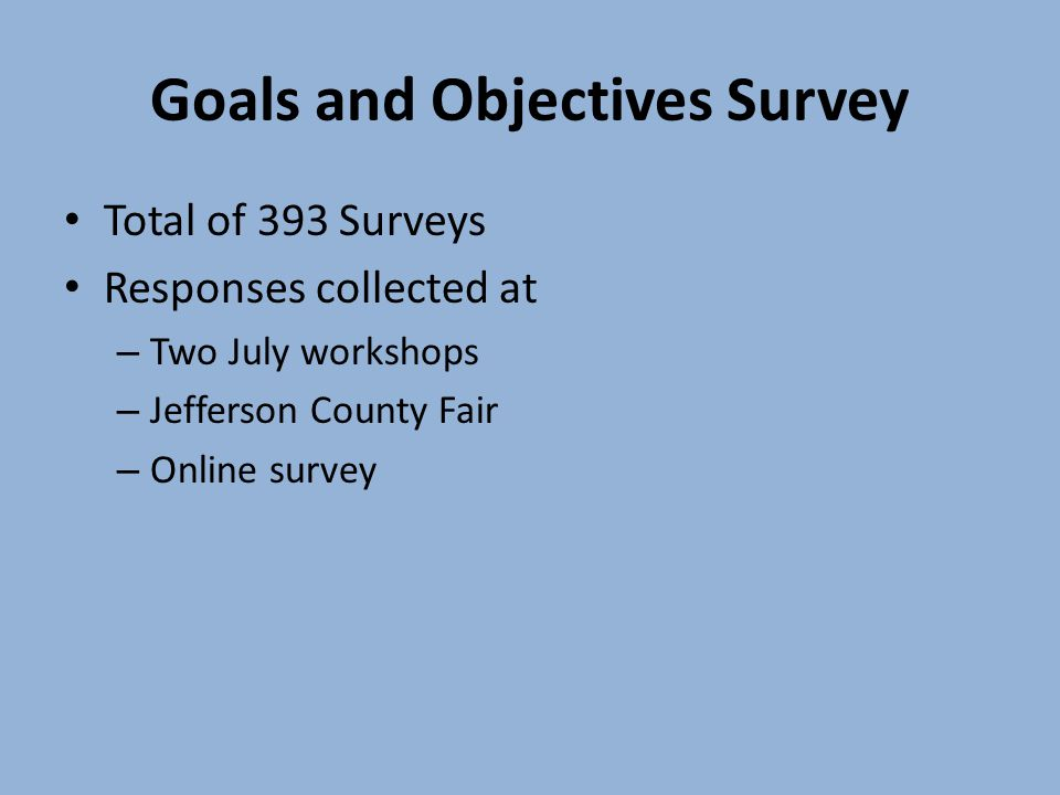 Goals and Objectives Survey Total of 393 Surveys Responses collected at – Two July workshops – Jefferson County Fair – Online survey