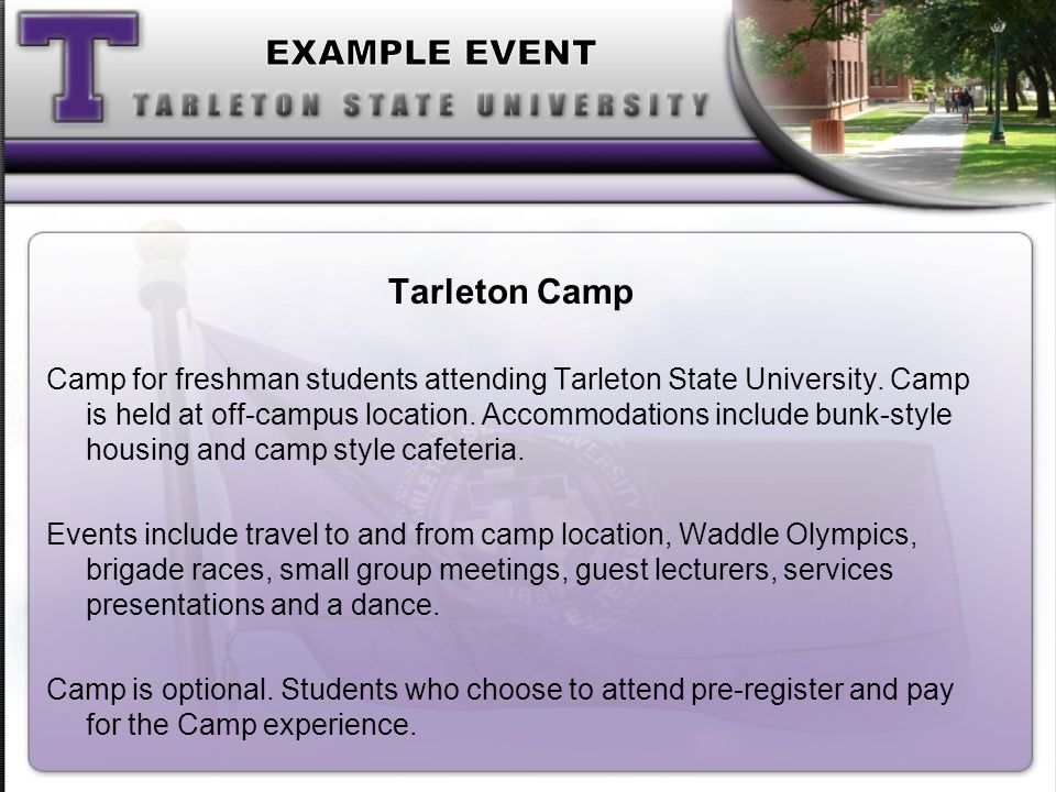 Tarleton Camp Camp for freshman students attending Tarleton State University.