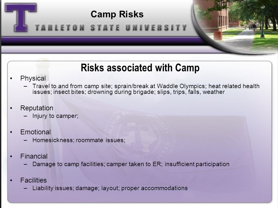 Risks associated with Camp Physical –Travel to and from camp site; sprain/break at Waddle Olympics; heat related health issues; insect bites; drowning during brigade; slips, trips, falls, weather Reputation –Injury to camper; Emotional –Homesickness; roommate issues; Financial –Damage to camp facilities; camper taken to ER; insufficient participation Facilities –Liability issues; damage; layout; proper accommodations Camp Risks