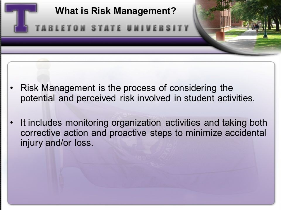 High Risk Activities Alcohol and Drugs Hazing Sexual Abuse and Harassment Fire and Other Safety Issues Travel Behavior at Parties and Social Events Others?