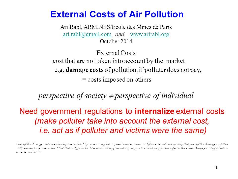1 External Costs of Air Pollution Ari Rabl, ARMINES/Ecole des Mines de Paris ari.rabl@gmail.comari.rabl@gmail.com and www.arirabl.orgwww.arirabl.org O