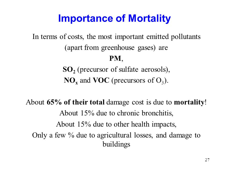 27 Importance of Mortality In terms of costs, the most important emitted pollutants (apart from greenhouse gases) are PM, SO 2 (precursor of sulfate a
