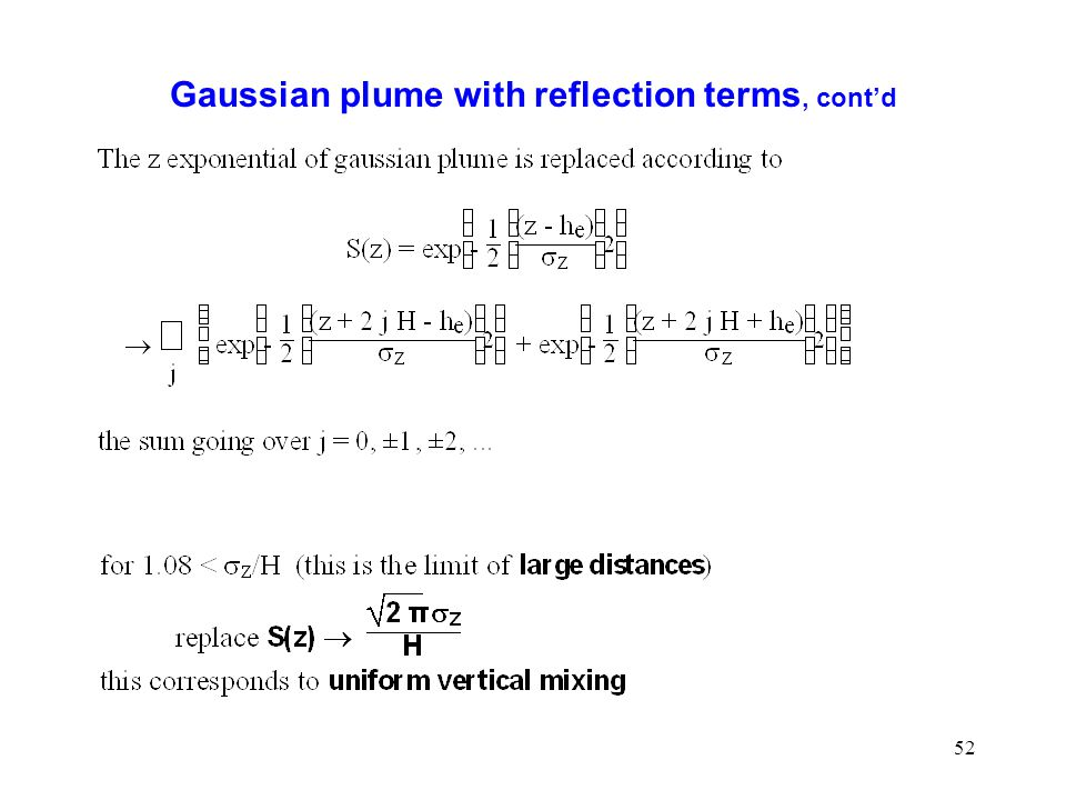 52 Gaussian plume with reflection terms, contd
