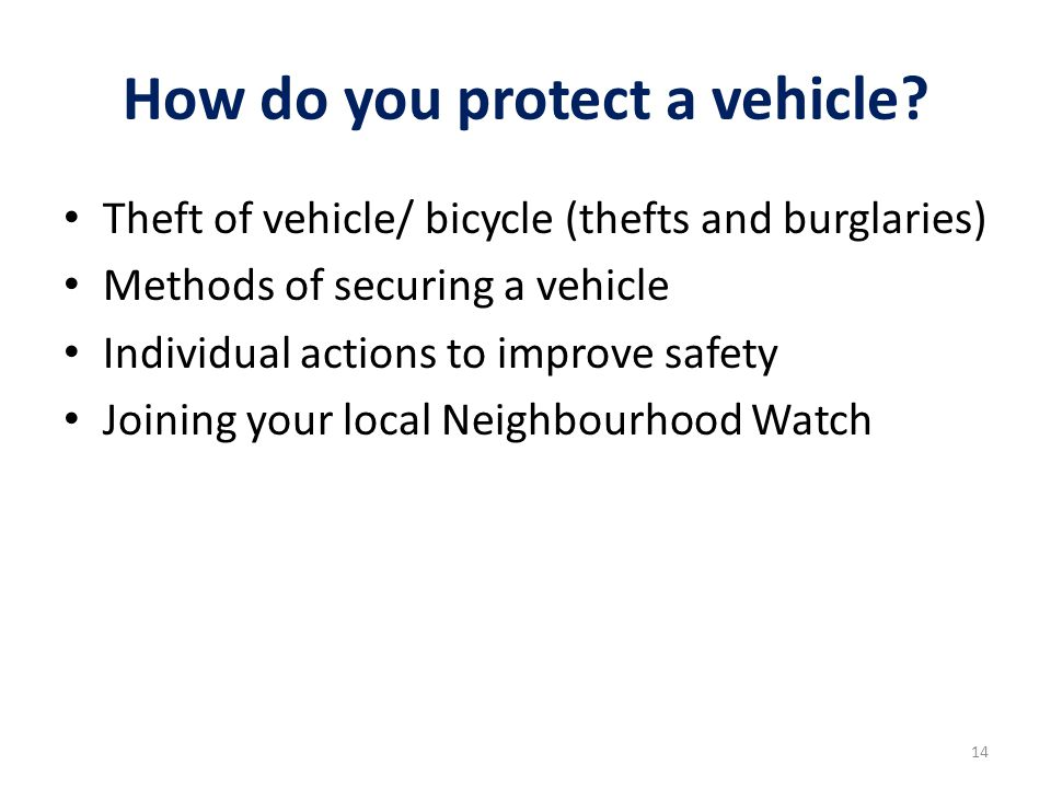 How do you protect a vehicle.