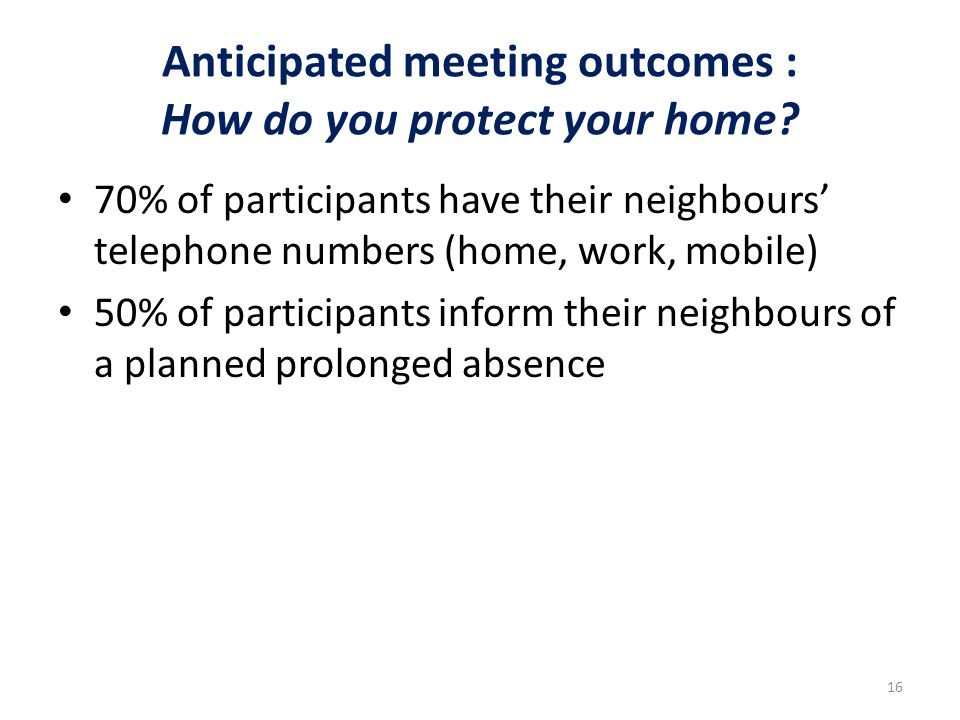 Anticipated meeting outcomes : How do you protect your home.