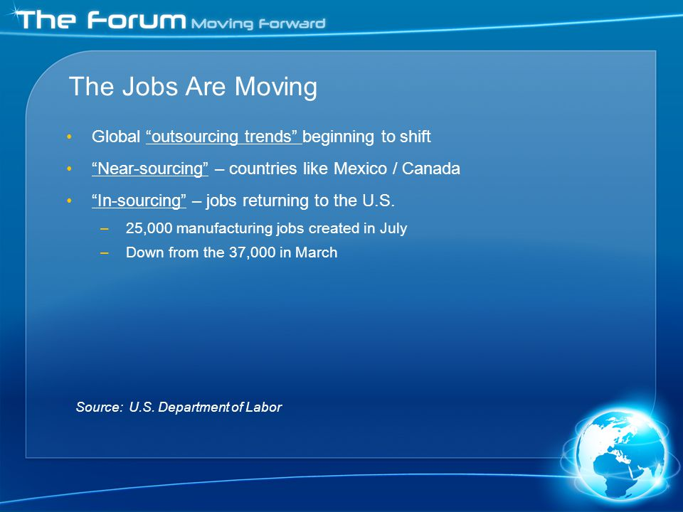 The Jobs Are Moving Global outsourcing trends beginning to shift Near-sourcing – countries like Mexico / Canada In-sourcing – jobs returning to the U.S.