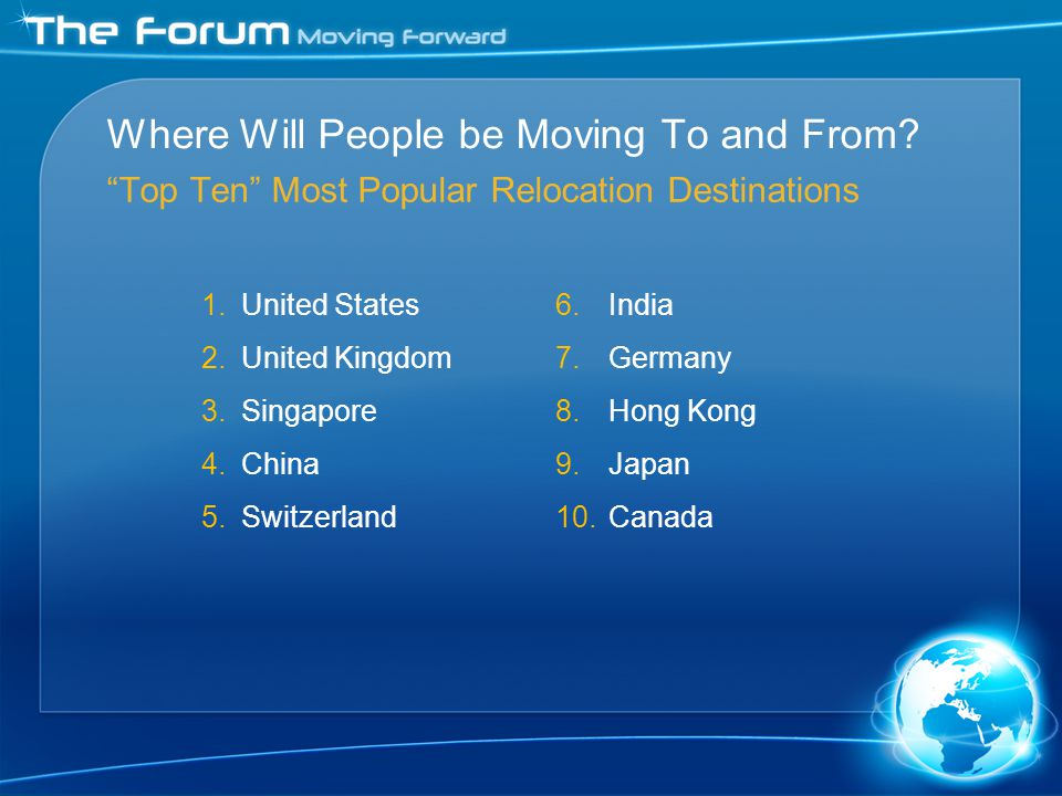 1.United States 2.United Kingdom 3.Singapore 4.China 5.Switzerland 6.India 7.Germany 8.Hong Kong 9.Japan 10.Canada Where Will People be Moving To and From.