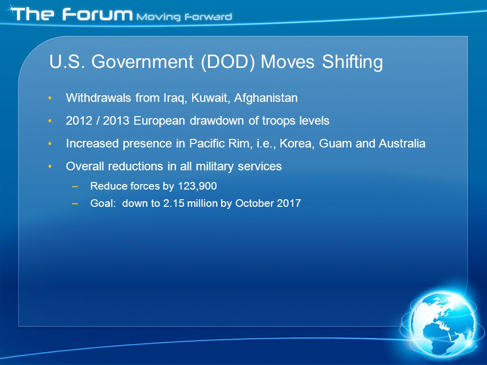 U.S. Government (DOD) Moves Shifting Withdrawals from Iraq, Kuwait, Afghanistan 2012 / 2013 European drawdown of troops levels Increased presence in P