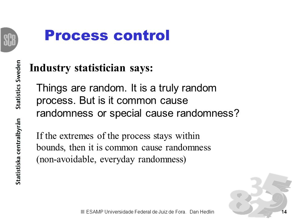 14 Process control Things are random. It is a truly random process.