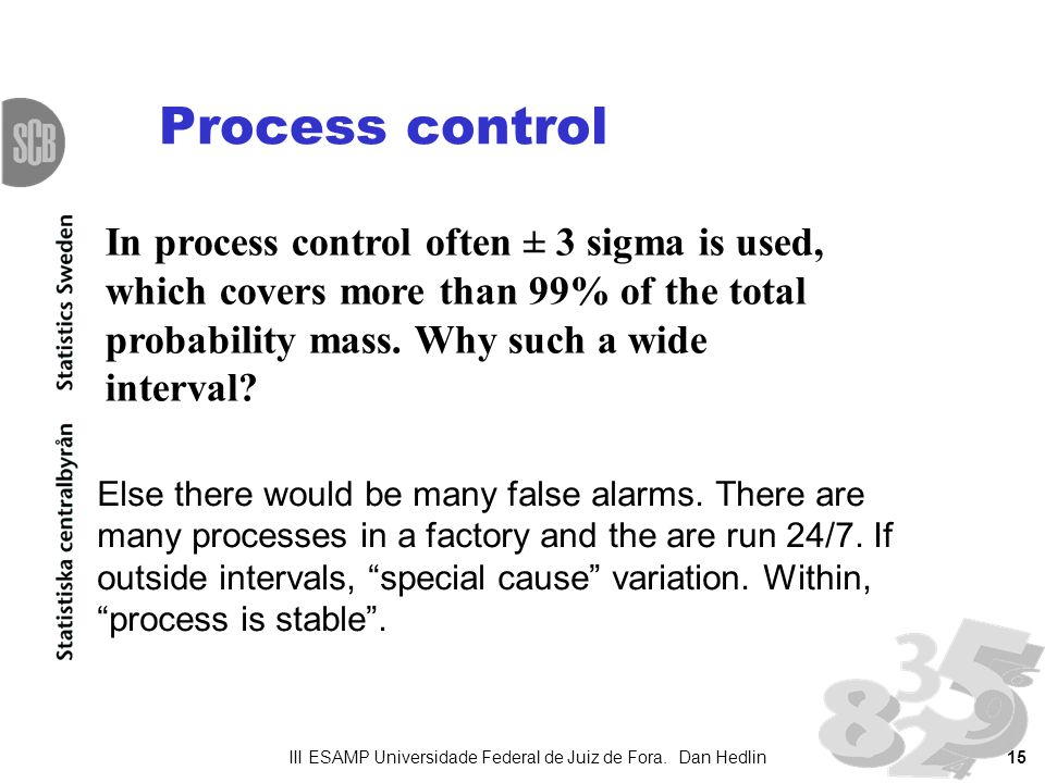 15 Process control Else there would be many false alarms. There are many processes in a factory and the are run 24/7. If outside intervals, special ca