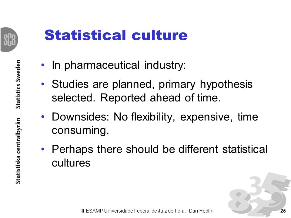 Statistical culture In pharmaceutical industry: Studies are planned, primary hypothesis selected.