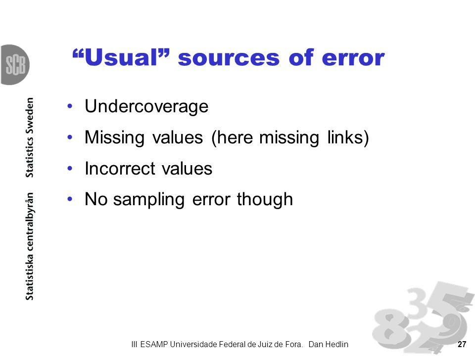 Usual sources of error Undercoverage Missing values (here missing links) Incorrect values No sampling error though III ESAMP Universidade Federal de J