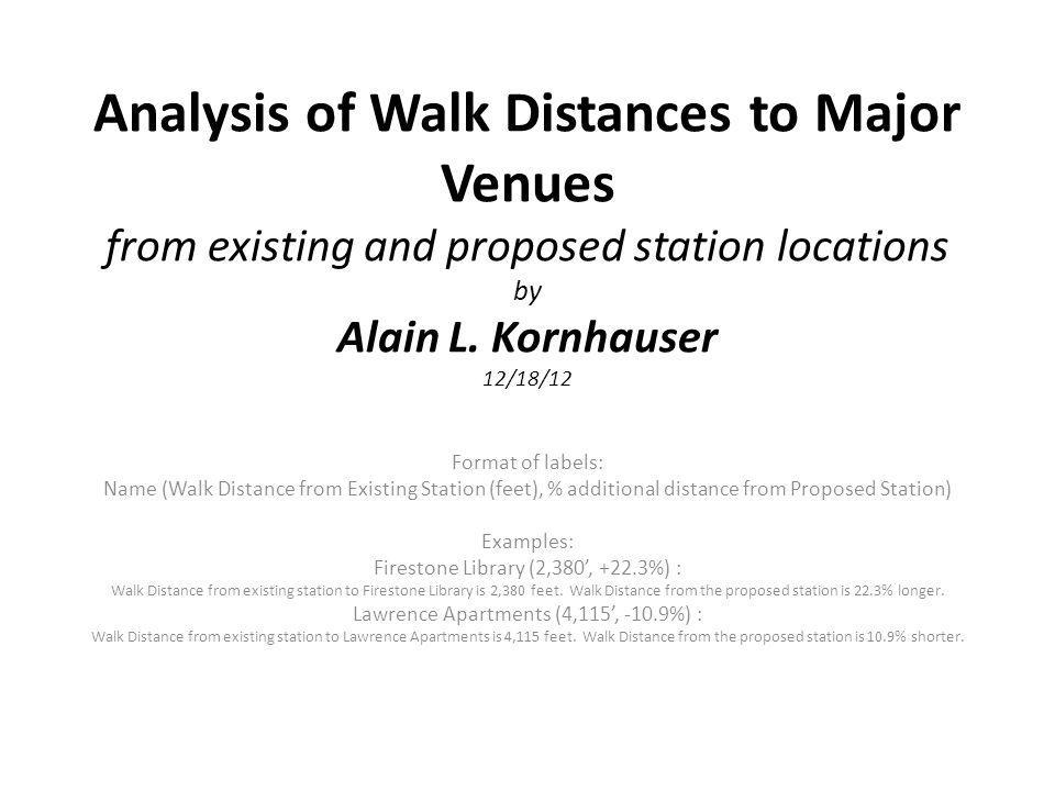 Analysis of Walk Distances to Major Venues from existing and proposed station locations by Alain L. Kornhauser 12/18/12 Format of labels: Name (Walk D
