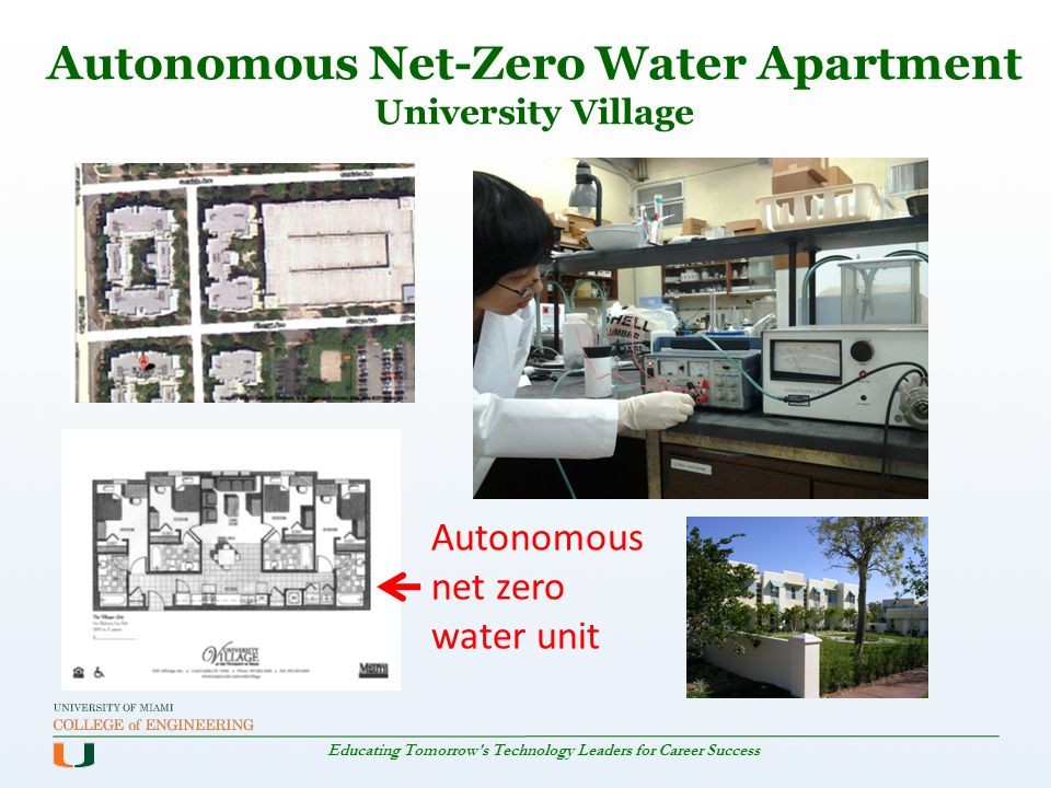 Educating Tomorrow's Technology Leaders for Career Success Autonomous Net-Zero Water Apartment University Village Autonomous net zero water unit