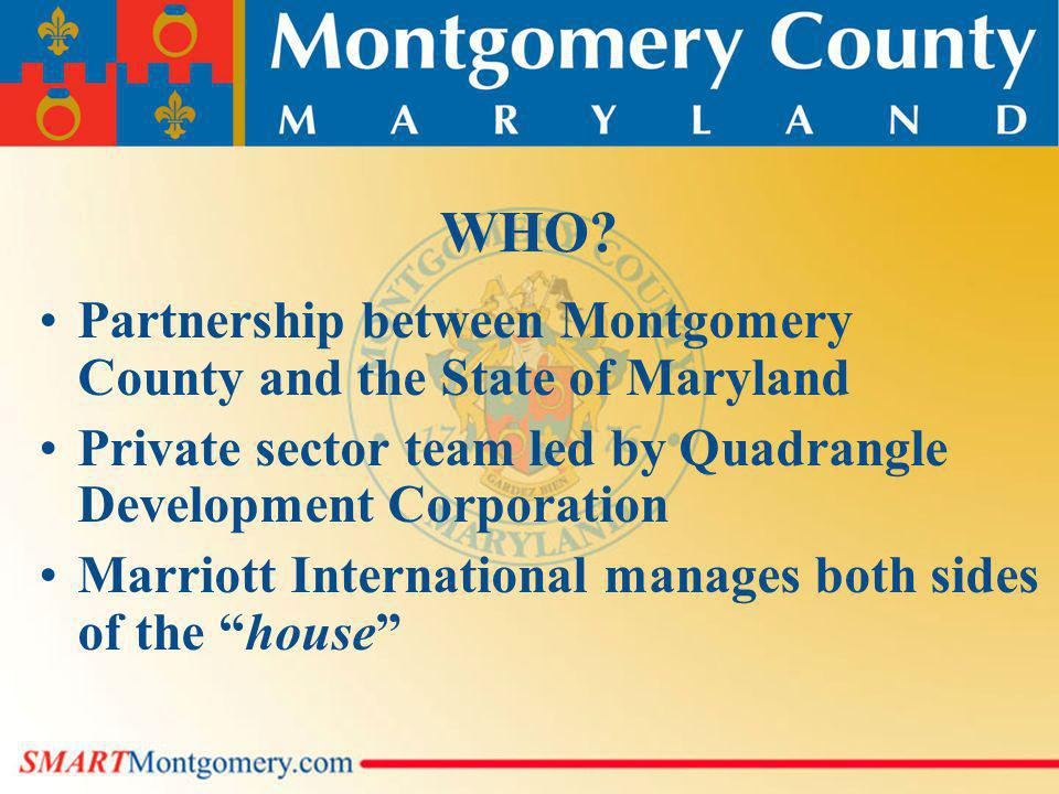WHO? Partnership between Montgomery County and the State of Maryland Private sector team led by Quadrangle Development Corporation Marriott Internatio
