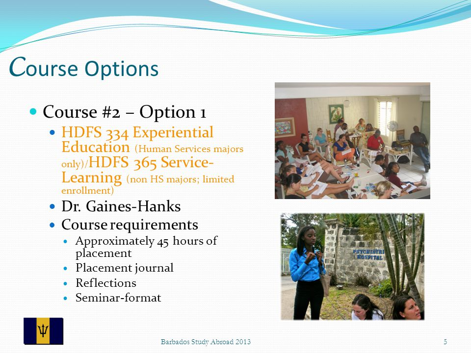 C ourse Options Course #2 – Option 1 HDFS 334 Experiential Education (Human Services majors only)/ HDFS 365 Service- Learning (non HS majors; limited enrollment) Dr.