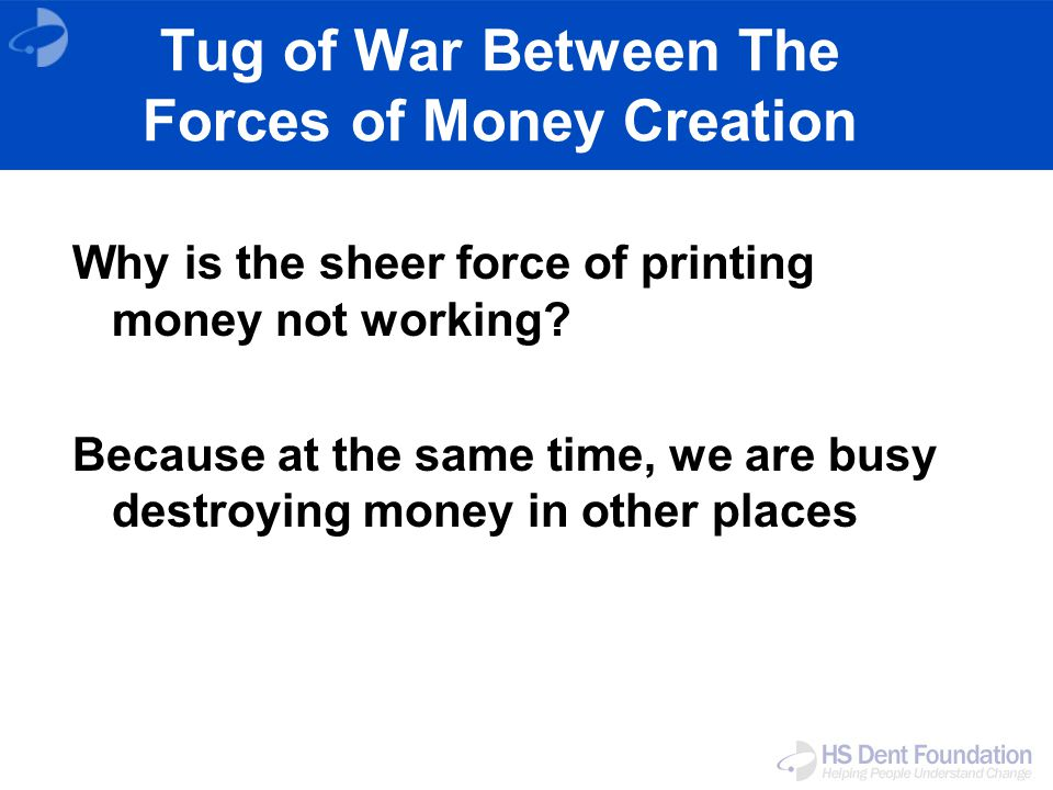 Tug of War Between The Forces of Money Creation Why is the sheer force of printing money not working.