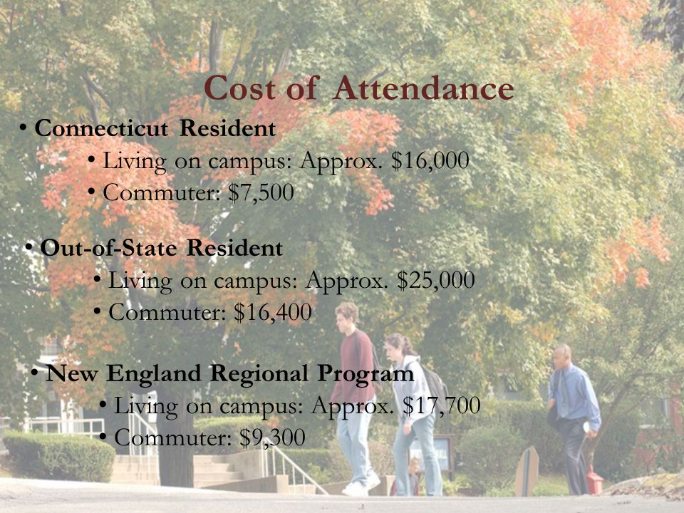 Cost of Attendance Connecticut Resident Living on campus: Approx.